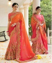 Pink,Orange Wedding Wear Designer Saree/ Lehenga