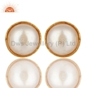 925 Silver Jewelry Pearl Gemstone Gold Plated Stud Earring