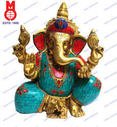 Lord Ganesha W/Out Base Stone & Wire Work
