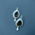 Smokey Silver Gemstone Earrings, Size: 3cm