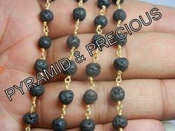 Black Lava Beaded Chain