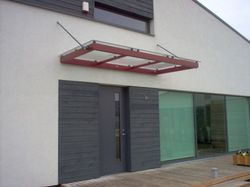MS Frame Rod Type Glass Canopy