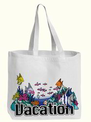 Vacation Printed Cotton White Bag