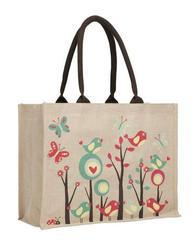 Brown Printed Fancy Juco Bags, Size: 32 X 38 X 14 cm, Handle Type: Padded Cotton Tape Handle