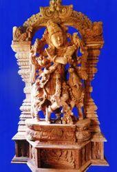 Lord Krishna Wooden Statue 7 Feet