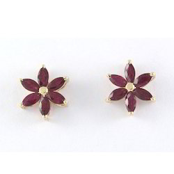 14K Ruby Gemstone Gold Earrings
