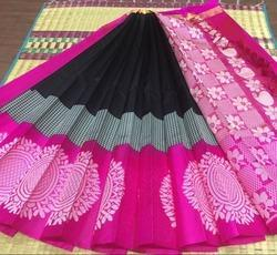 Blank and Pink Korvai Silk Saree