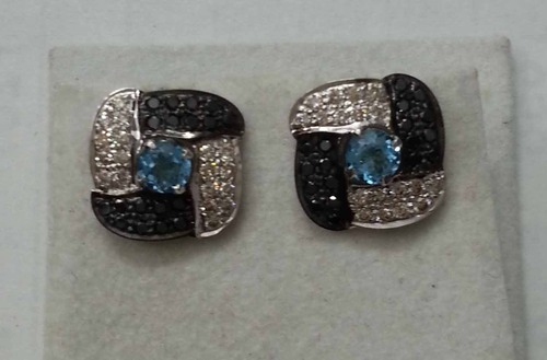 925 Sterling Silver Black Diamond Stud Earring For Woman