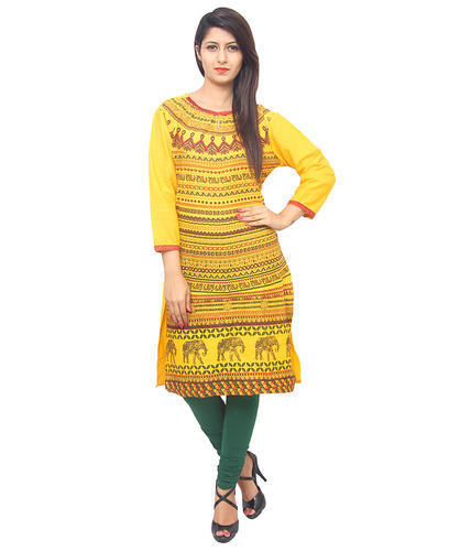 3/4th Sleeve Casual Wear Multicolor Ladies Cotton Long Kurti