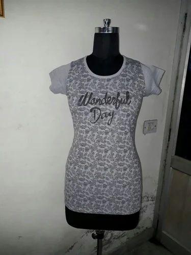 4f627c5fca7757 Round Neck Half Sleeves Ladies Hosiery Tops T Shirts