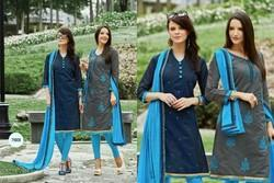 Embroidered Cotton Chanderi Dress Material