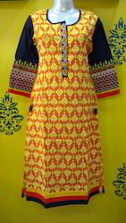 Cotton Kurti with Embroidered Sleeves