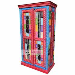 Jangid Art & Crafts Wooden Painted Bedroom Almirah for Hotel, Size: 80x45x150 CMS