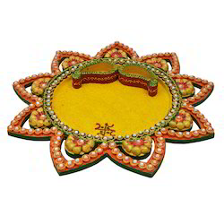 Wooden Paper Mache Star Pooja Thali with Kundan Work