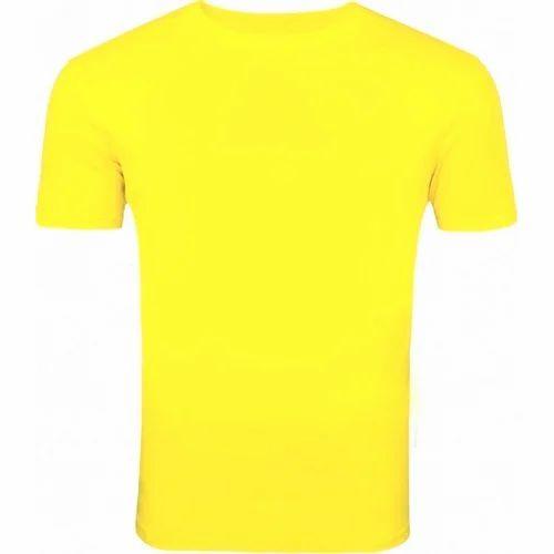 Mens Yellow Round Neck T Shirt
