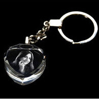 Laser Etched Crystal Keychain in 2D Crystal Keychain, Keyring Photo Crystal