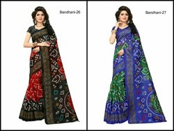 Party Wear Bandhani Saree, With Blouse Piece