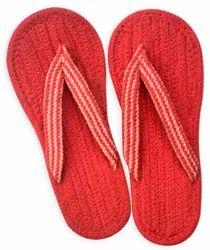 Homework Women Solid Red Color Cotton Flip Flops, Size: 7