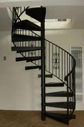 Black Mild Steel Round Staircase