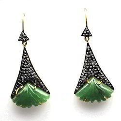 Carved Gemstone Pave Diamond Silver Earring