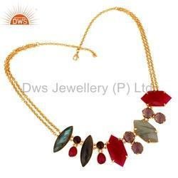 Gold Plated Brass Gemstone Necklace