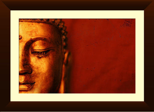 Buddha On Red Background Framed Print Wall Hangings, Deewar Latkan ...