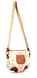 Handmade Leather Pocket Canvas Painting Style Bag
