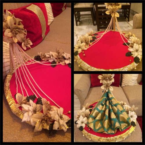 Send Wedding Gifts Online India: Indian Wedding Theme Saree Packing Trays, Saree Pack Karne