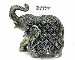 White Metal Fine Elephant Statues