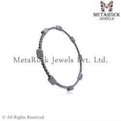 925 Sterling Silver Diamond Bangle Jewelry