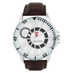 Swiss Trend Brown Casual Watch for Men with Genuine Leather Case