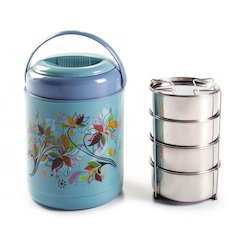 Light Blue Stainless Steel And Plastic Cello Insulated Tiffin, 4 SS CONTAINER, Packaging Type: 4 Pcs Container