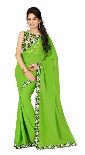 c91e01a95e Fabulous Georgette Black & Green Lace Border Designer Saree at Rs ...