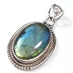 Labradorite Cabochon Sterling Silver Pendant