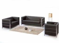 Stainless Steel Black Sofa Set