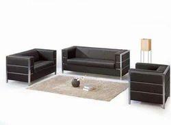 Stainless Steel Black Sofa Set