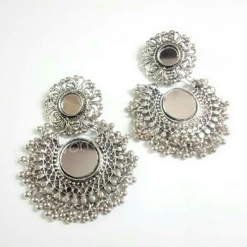 158190420 Afghan And Oxidized Silver Earrings Double Mirror Earrings, Rs 150 ...