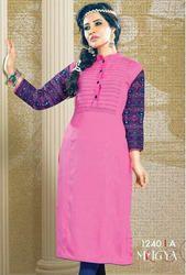 Beautiful Pink Cotton Rayon Printed Kurtis