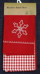 Red Embroidered Kitchen Towel Set