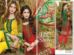 Cotton Unstitched Dawood Printed Collection 2017 Suit, Machine wash