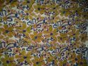 Yellow Paisley Flower Print Block Printed Fabrics