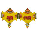Wooden & Paper Mache Shubh Labh with Kundan Work