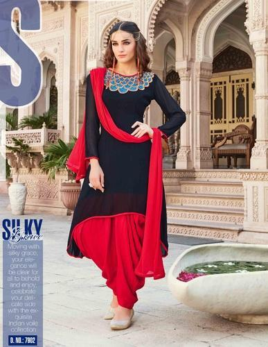 a8a4d4be54 Red And Black Georgette Readymade Patiala Suit, Rs 949 /piece | ID ...