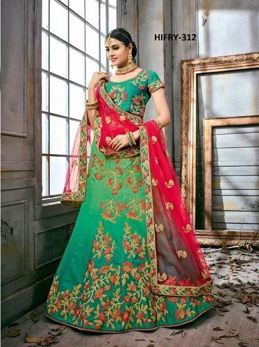 c403a711ea Bridal Semi-Stitched Shaded Green With Khatli Work Lehenga Choli, Rs ...