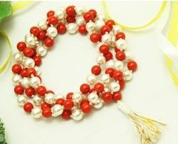 Coral And Pearl Mala In Thread