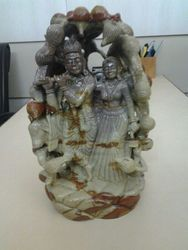 Radha Krishna In Shivling Stone
