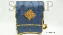 Flap Blue Jute Side Bag, Size/Dimension: 11