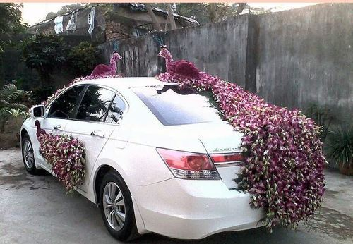 Wedding car decoration services wedding car front side decoration wedding car back side decoration junglespirit Choice Image