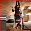 Black And Cream Colour Printed Churidar Suit- Unstiched