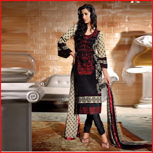 2d67c614169 Black And Cream Colour Printed Churidar Suit- Unstiched at Rs 2125 ...